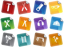 Hardware Icon Set: Sticker Series. Set of hardware icons in a sticker button style stock illustration