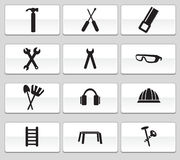 Hardware Icon Set: Web Button Series. Set of 12 hardware icons - black and white Vector Illustration