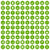 100 hardware icons hexagon green Royalty Free Stock Photography