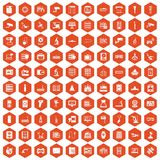 100 hardware icons hexagon orange. 100 hardware icons set in orange hexagon isolated vector illustration royalty free illustration