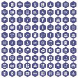 100 hardware icons hexagon purple. 100 hardware icons set in purple hexagon isolated vector illustration royalty free illustration