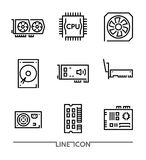Hardware Icons; PC Upgrading Components thin line vector. Set of the Computer Hardware Icons. PC Upgrading Components thin line vector royalty free illustration