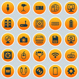 Hardware Icons Set. Collection Of Power Generator, Loudspeakers, Aux Cord And Other Elements. Also Includes Symbols Such Royalty Free Stock Photography
