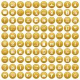 100 hardware icons set gold. 100 hardware icons set in gold circle isolated on white vectr illustration Royalty Free Illustration