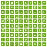 100 hardware icons set grunge green. 100 hardware icons set in grunge style green color isolated on white background vector illustration Stock Images