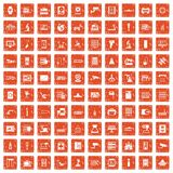 100 hardware icons set grunge orange. 100 hardware icons set in grunge style orange color isolated on white background vector illustration Royalty Free Stock Photos