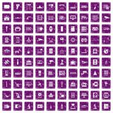 100 hardware icons set grunge purple. 100 hardware icons set in grunge style purple color isolated on white background vector illustration Royalty Free Stock Photos