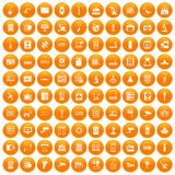 100 hardware icons set orange. 100 hardware icons set in orange circle isolated vector illustration vector illustration