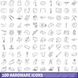 100 hardware icons set, outline style Royalty Free Stock Photography