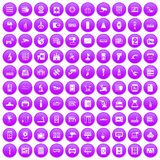 100 hardware icons set purple. 100 hardware icons set in purple circle isolated vector illustration royalty free illustration