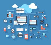 Hardware icons. Vector illustration of hardware and cloud computing concept on blue background with long shadow royalty free illustration
