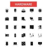 Hardware illustration, thin line icons, linear flat signs, vector symbols royalty free illustration