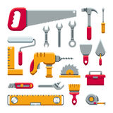 Hardware industrial tools kit flat vector icons. Set of tools and work equipment illustration vector illustration