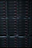Hardware in internet data center room. Server rack cluster in a data center Stock Image