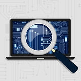 Hardware of laptop. Magnifying glass enlarging the electronic circuit on the laptop monitor. Showing the laptop board stock illustration