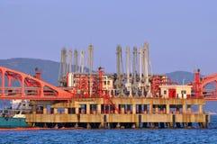 Hardware Of Oil Transfer Equipment On Sea Stock Photos