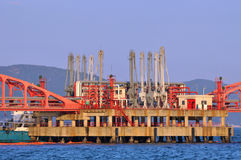 Hardware of oil transfer equipment on sea Stock Photos