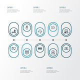 Hardware Outline Icons Set. Collection Of Peripheral, Earphones, Camera And Other Elements. Also Includes Symbols Such. Hardware Outline Icons Set. Collection Of Royalty Free Stock Image