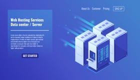 Hardware, scaffale della stanza del server, sito Web che ospita, illustrazione isometrica 3d di vettore di centro dati della base illustrazione vettoriale