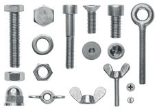 Hardware screw collection. Collection of hardware screws, bolts and nuts Royalty Free Stock Photography