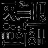 Hardware screws and nails with tools outline symbols eps10 Stock Images