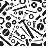 Hardware screws and nails with tools seamless pattern Stock Images