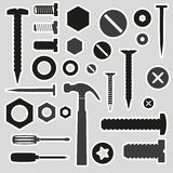 Hardware screws and nails with tools stickers Royalty Free Stock Photography