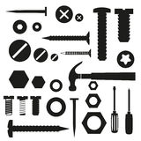 Hardware screws and nails with tools symbols Stock Photography