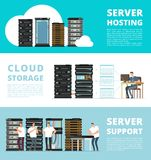Hardware server system and network administration. Data storage engineering service. Vector hosting server and support service administration illustration Royalty Free Stock Photography