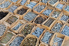 Hardware shop. Boxes of screws and bolts in hardware shop Royalty Free Stock Photos