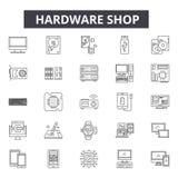 Hardware shop line icons, signs, vector set, linear concept, outline illustration. Hardware shop line icons, signs, vector set, outline concept, linear stock illustration