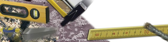 Hardware store. Baner cunstruction industry concept bricks and cement background and tools in action Stock Photography