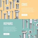Hardware store advertising flyers with bolts royalty free illustration