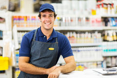 Hardware store assistant. Handsome hardware store assistant looking at the camera Stock Photos