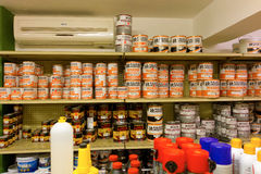 A hardware store in the caribbean. Shelves stocked with paint and other home-related items on bequia Stock Images