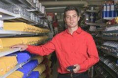 Hardware store employee Stock Photo