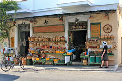 Hardware Store Greek Village Stock Photo