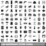 100 hardware store icons set, simple style. 100 hardware store icons set in simple style for any design vector illustration Royalty Free Stock Photography
