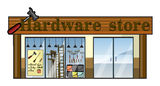 A hardware store. Illustration of a hardware store on a white background stock illustration