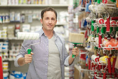 Hardware store. Man working in hardware store Stock Images