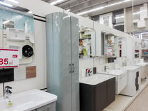 Hardware Store. Various articles of furniture for the bathroom in a large store in Rome Stock Photos