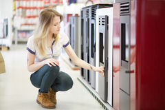 Hardware store. Woman working in hardware store stock image