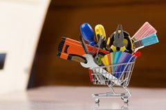 Hardware Store. Work Tool Shopping Shopping Cart Store Construction Business Stock Photography