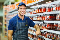 Hardware store worker. Happy hardware store worker looking at the camera Stock Photography