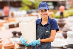 Hardware store worker pot Royalty Free Stock Images