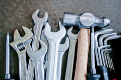 Hardware tool. All kinds of hardware tools rows in the table royalty free stock photography