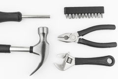 Hardware tool set  hammer screwdriver wrench Royalty Free Stock Images