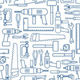Hardware tool set linear seamless pattern. Vector carpenter of working tools. Hardware tool set linear seamless pattern. Vector carpenter or locksmith working royalty free illustration