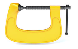 Hardware tools, clamp. Front view of a clamp on white background (3d render royalty free illustration