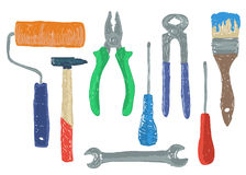 Hardware tools drawing Stock Images